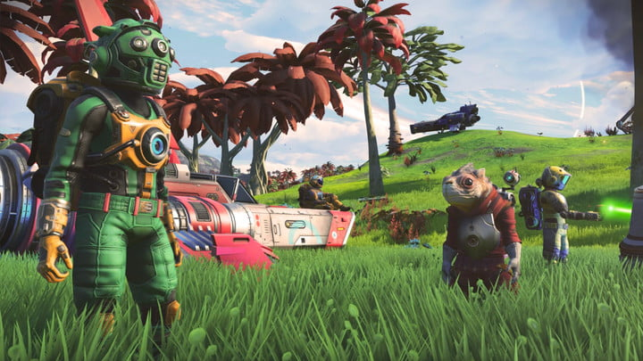 An astronaut in a field with an alien and some parked ships.