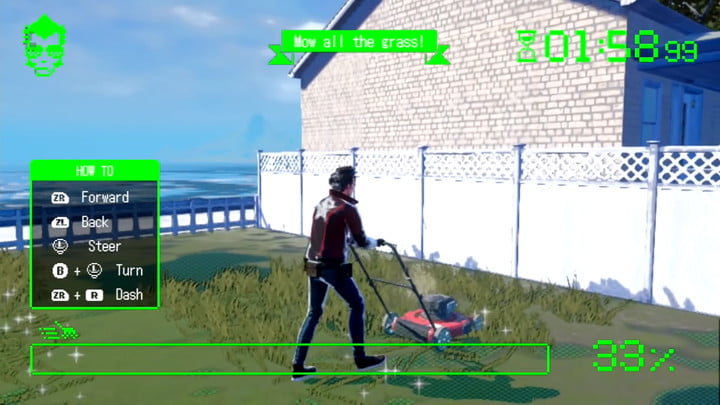 Travis Touchdown doing the grass mowing minigame in No More Heroes 3.