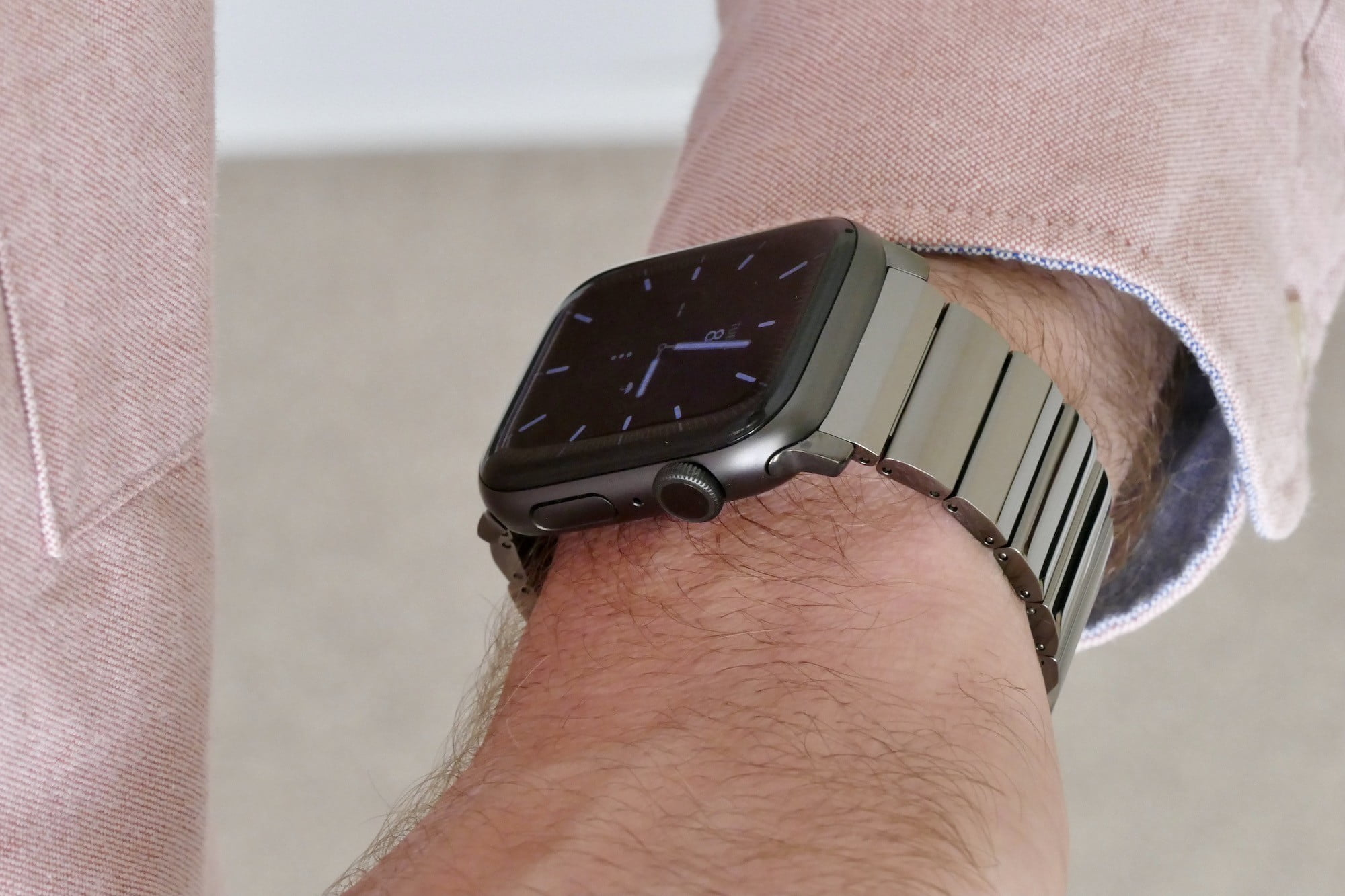 nomad titanium steel band apple watch hands on photos price release date space grey wrist