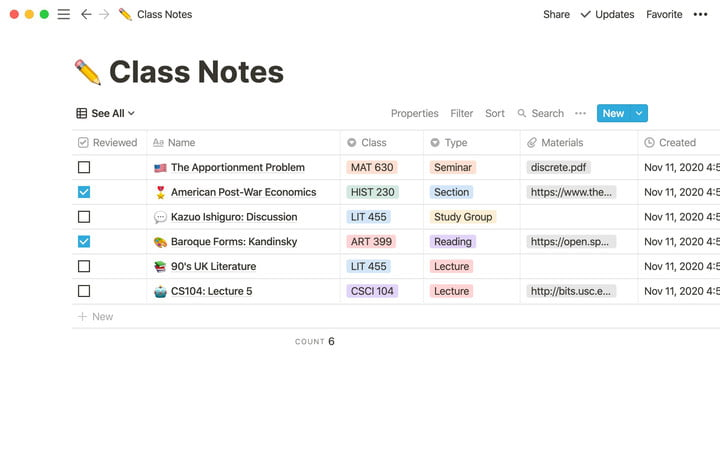 Notion for Education desktop app screenshot showing an example of organized class notes.