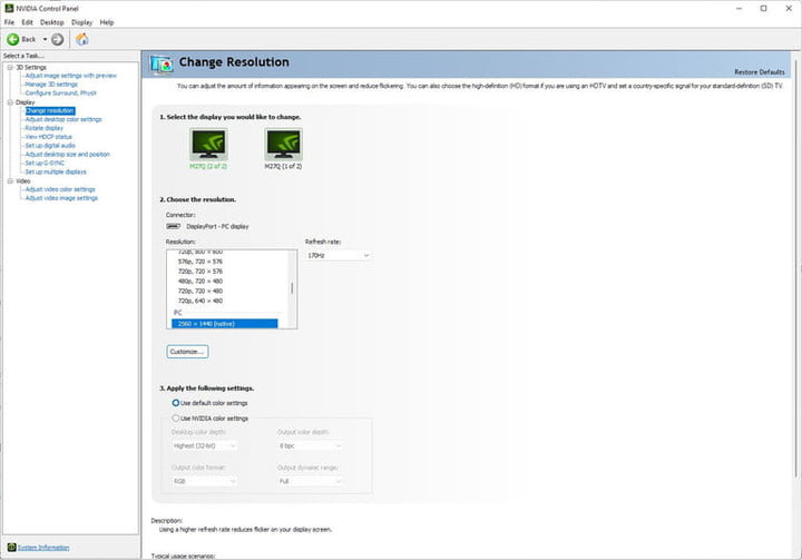 Resolution settings in the Nvidia Control Panel.