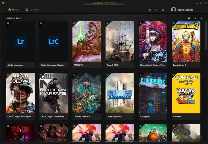 The games page in Nvidia GeForce Experience.