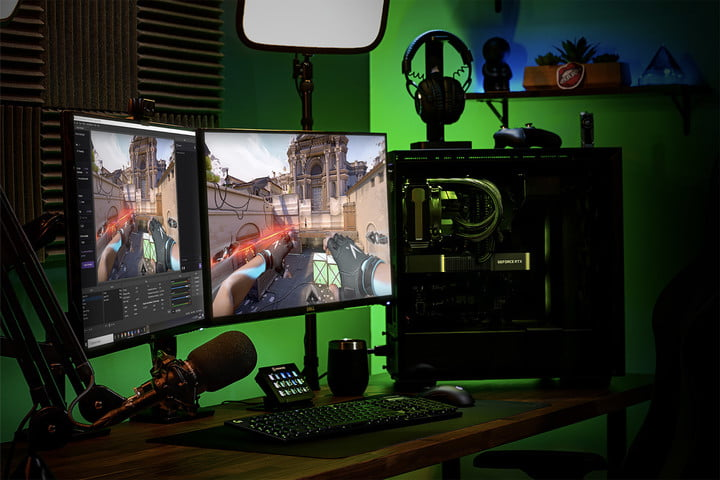 Nvidia GeForce RTX Gaming Setup with Monitor and PC build.