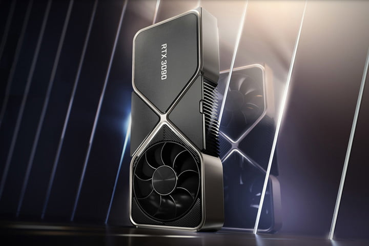 Promotional photo of an Nvidia GeForce RTX 3090 graphics card.