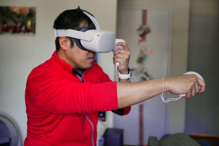 The Oculus Quest 2 in use.
