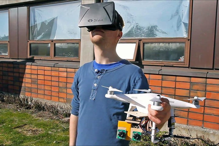 dual camera equipped drone controlled oculus headset future aerial videography rift drones norwegian university of science