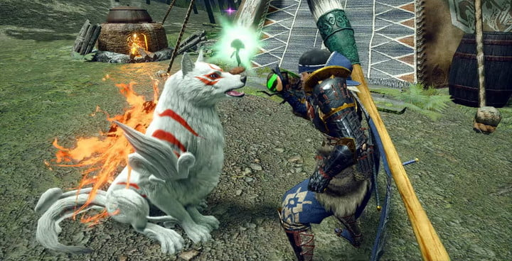 Amaterasu appears as a Palmute in Monster Hunter Rise.