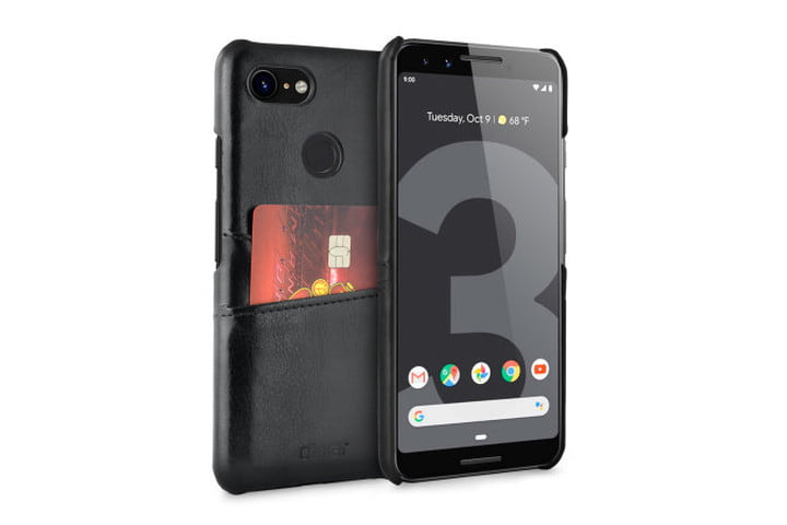 Olixar Farley RFID Blocking Wallet Case in black faux-leather for the Google Pixel 3.