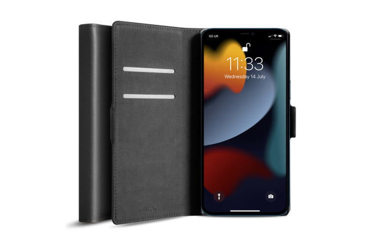 Olixar Genuine Leather Wallet Case in black for iPhone 13 Pro Max.