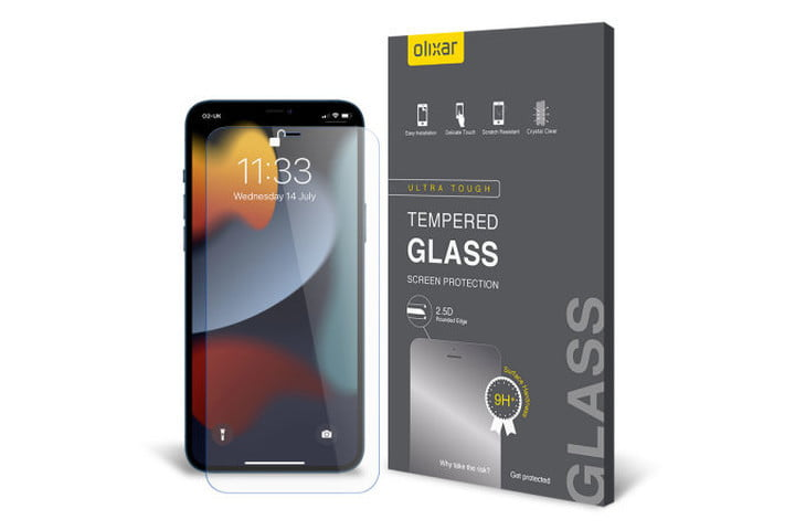 Olixar Tempered Glass Screen Protector for iPhone 13 Pro Max.