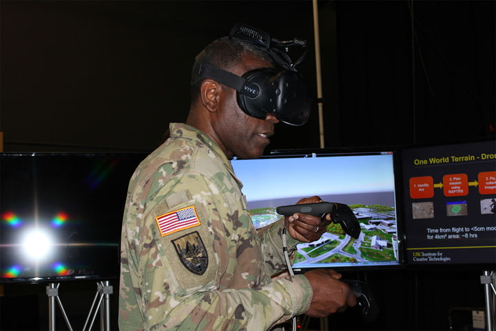 Maj. Gen. Cedric T. Wins, commanding general, U.S. Army Research, Development and Engineering Command tries his hands at One World Terrain.