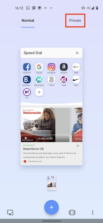 Opera Android private browser