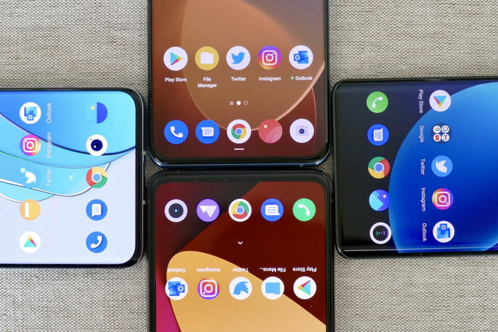 Apps on a Realme, Oppo, Vivo, and OnePlus phone screens.