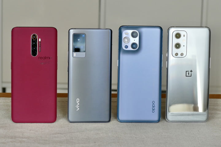 The backs of the OnePlus 9 Pro, Vivo X60 Pro, Oppo Find X3 Pro, and Realme X2 Pro Master Edition.