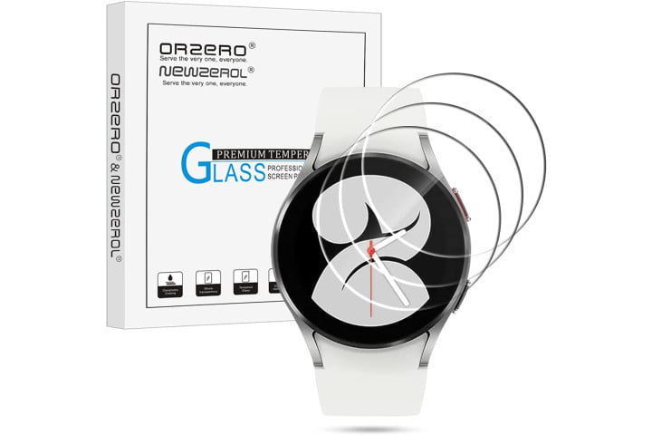 Orzero Tempered Glass Screen Protector on the Samsung Galaxy Watch 4.
