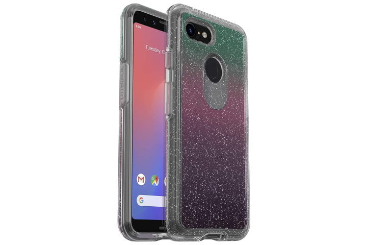 Otterbox Symmetry Case in clear with glitter for the Google Pixel 3.