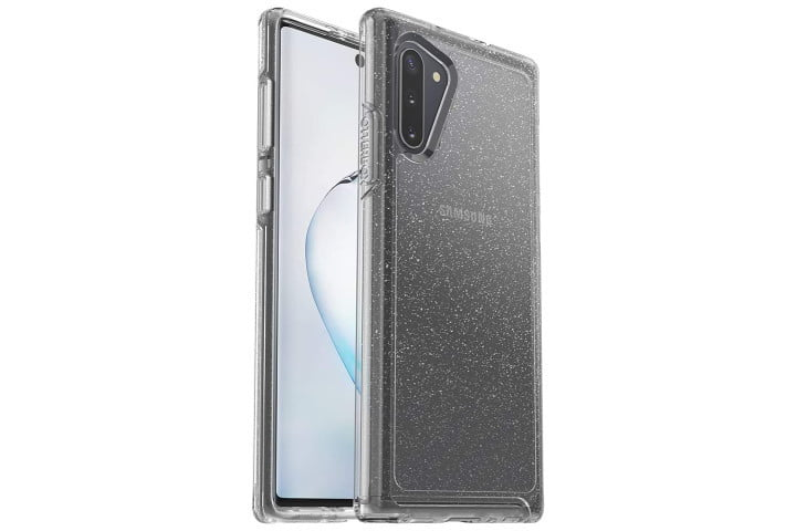Photo shows the front and back of a Samsung Galaxy Note 10 phone in a clear glitter case from Otterbox