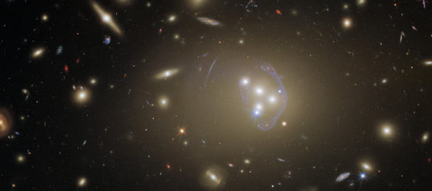This detailed image features Abell 3827, a galaxy cluster that offers a wealth of exciting possibilities for study. Hubble observed it in order to study dark matter, which is one of the greatest puzzles cosmologists face today.