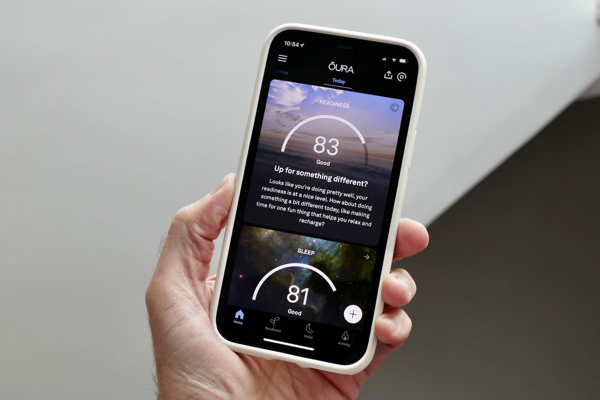 The Oura Ring app's main screen.