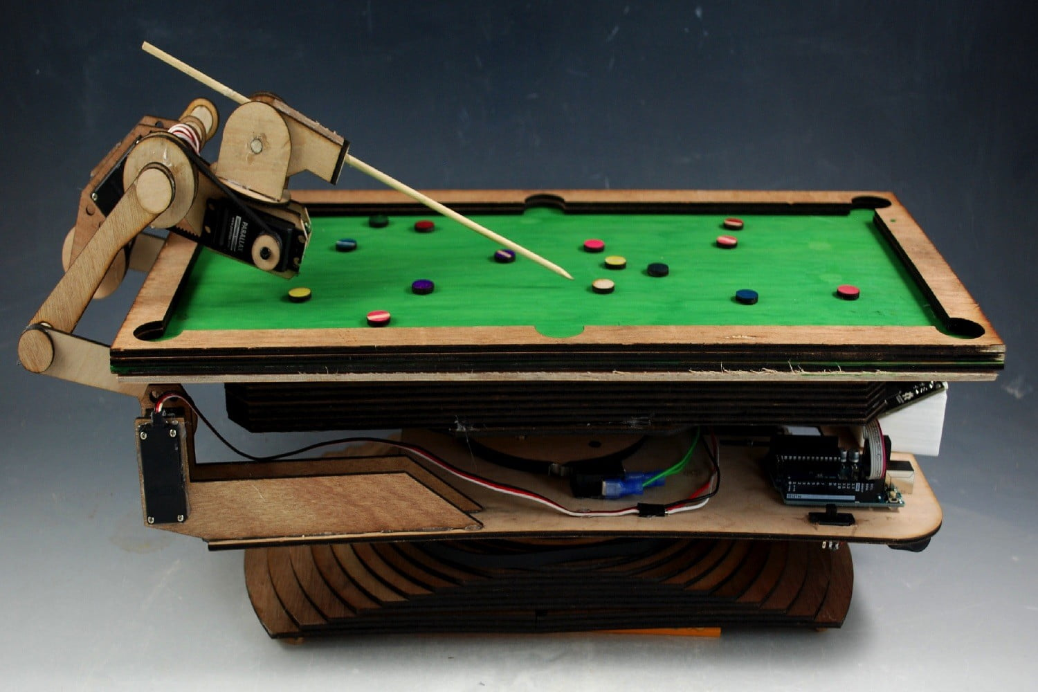 robotic pool shark over the table shot contrast 2