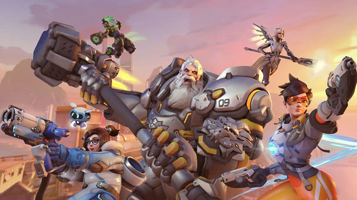 Overwatch heroes poised for battle.