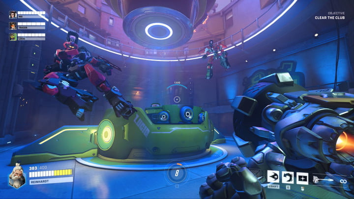 A player faces off against robots in Overwatch 2.