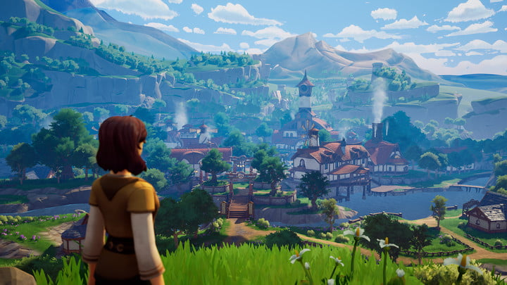 A character looks out over a village in Palia.