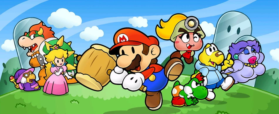 The colorful cast of Paper Mario: The Thousand Year Door stands on grass.