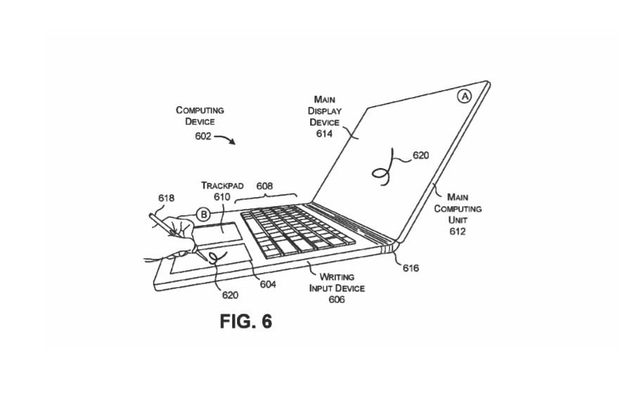 microsoft surface book 3 inking space patent in keyboard 1