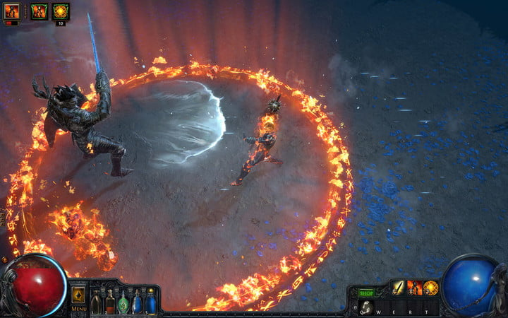 A player summons a circle of fire in Path of Exile.