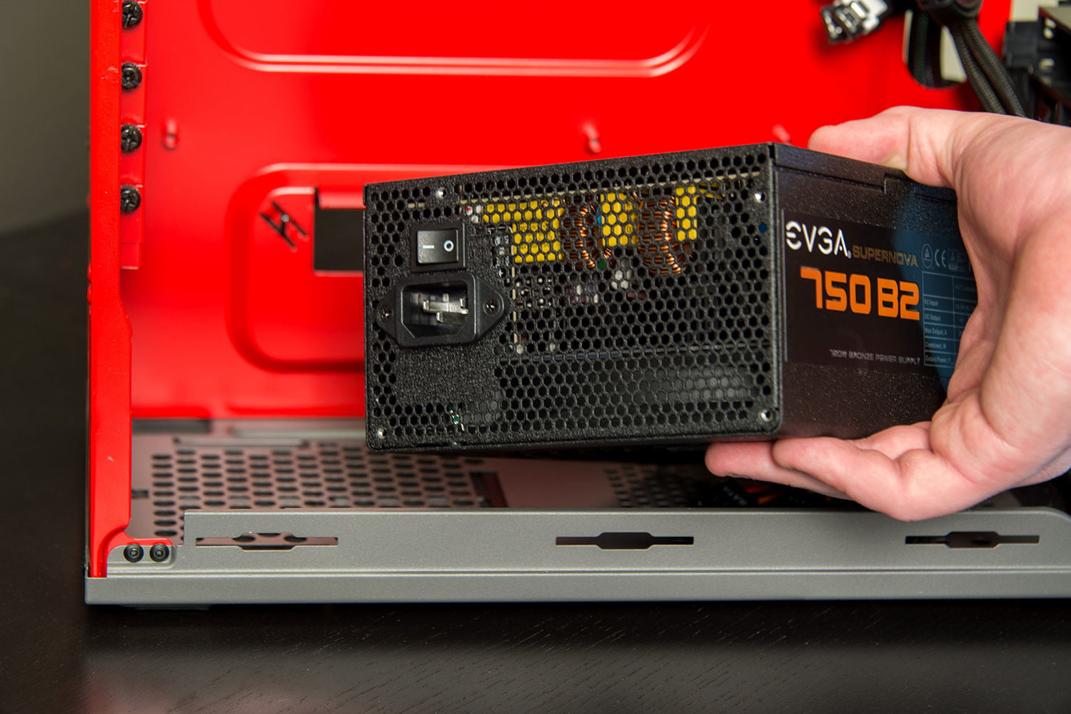 PC power supply in a case.