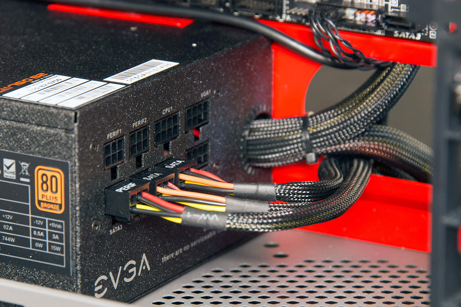Modular cables connected to PC power supply.