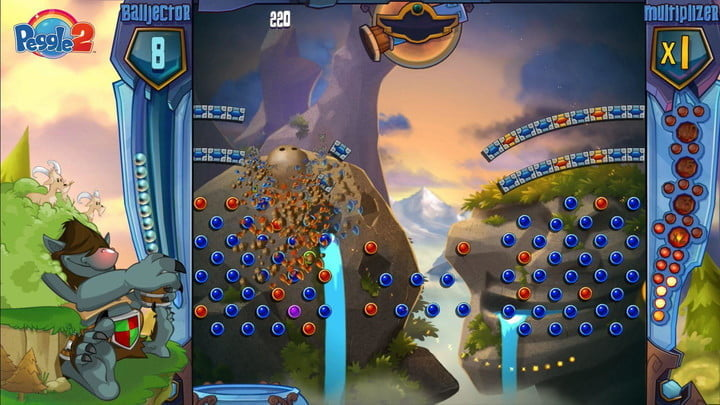 A bunch of tiles collapsing in peggle.