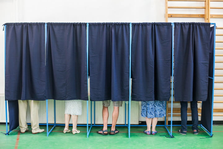 pennsylvania paper trail voting machine people in booth