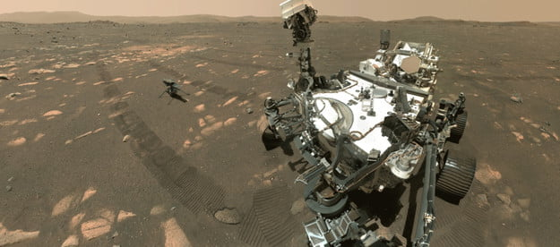 perseverance rovers first selfie also shows mars helicopter rover