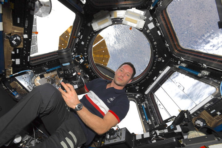 Astronaut Thomas Pesquet in the International Space Station's observation module.
