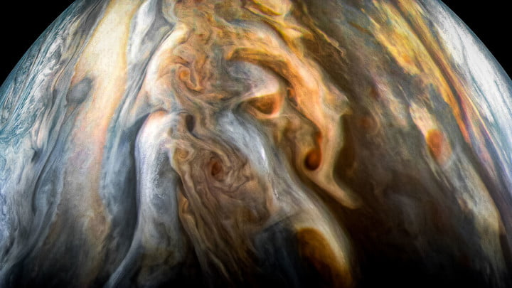 The JunoCam imager aboard NASA's Juno spacecraft captured this image of Jupiter's southern equatorial region on Sept. 1, 2017. The image is oriented so Jupiter's poles (not visible) run left-to-right of frame.