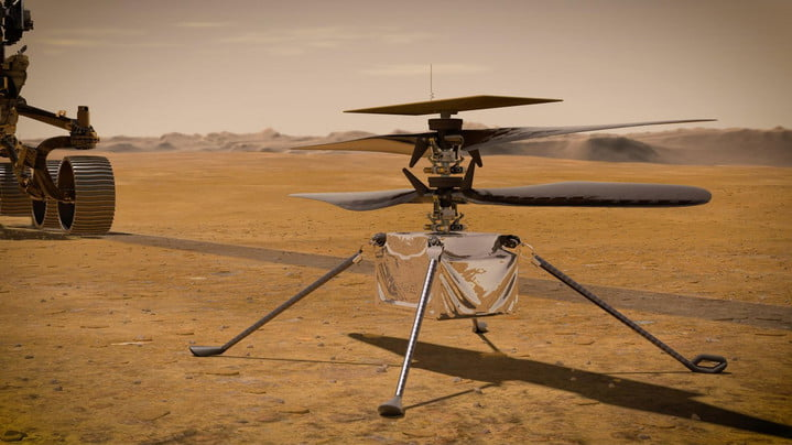 In this illustration, NASA's Ingenuity Mars Helicopter stands on the Red Planet's surface as NASA's Perseverance rover (partially visible on the left) rolls away. Ingenuity arrived at Mars on Feb. 18, 2021, attached to the belly of NASA's Mars 2020 Perseverance rover.
