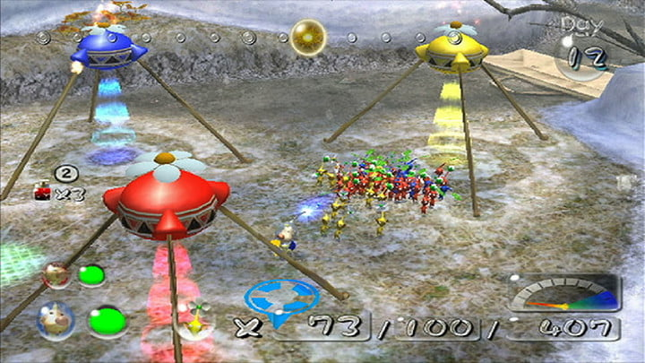 Olimar returns Pikmin to their ships in Pikmin 2.