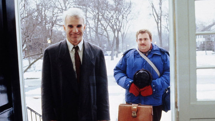 Steve Martin and John Candy in Planes, Trains, and Automobiles.