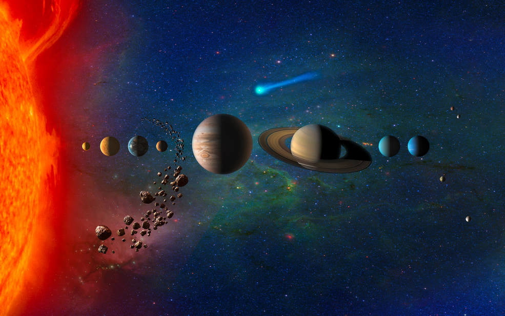 Artist concept of the solar system.