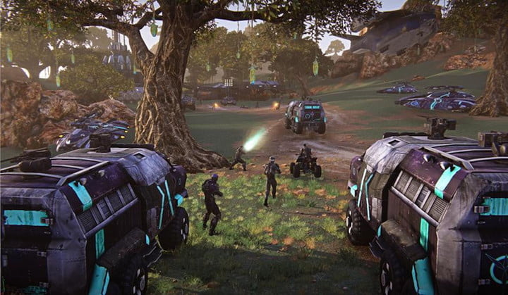 A platoon of soldiers advance through a wooded area in Planetside 2.