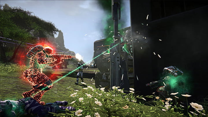 PlanetSide 2 player caught in a shootout.