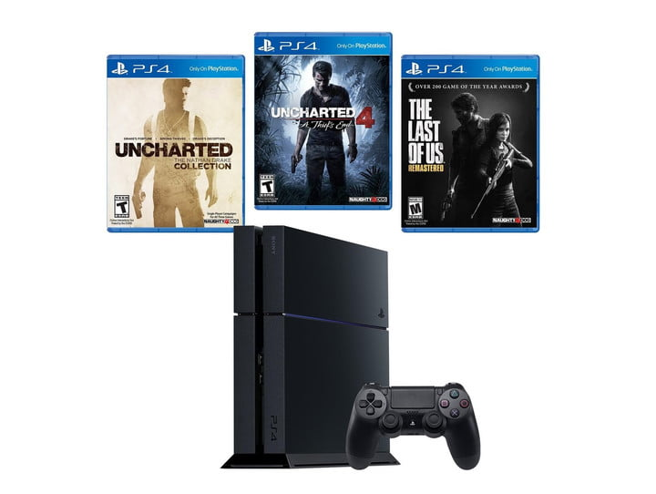 GameStop pre-owned PS4 bundle with Naughty Dog games.