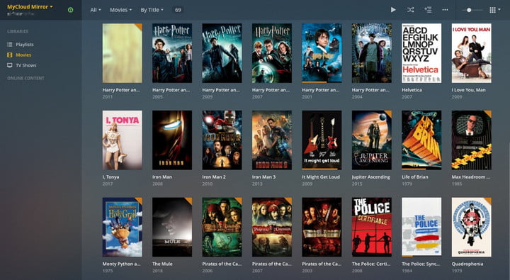Plex app showing a variety of movies.