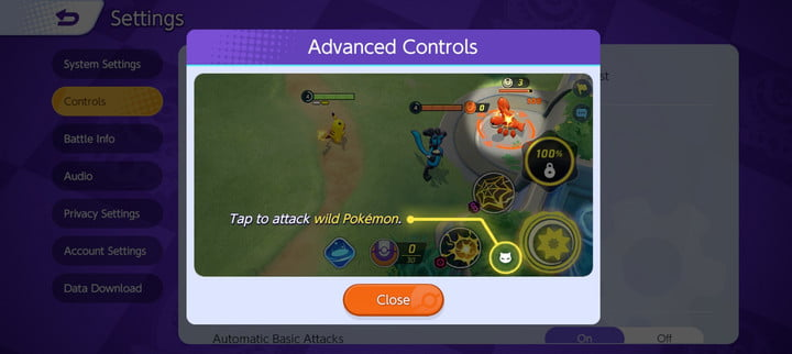 Changing to Advanced Controls in Pokémon Unite.