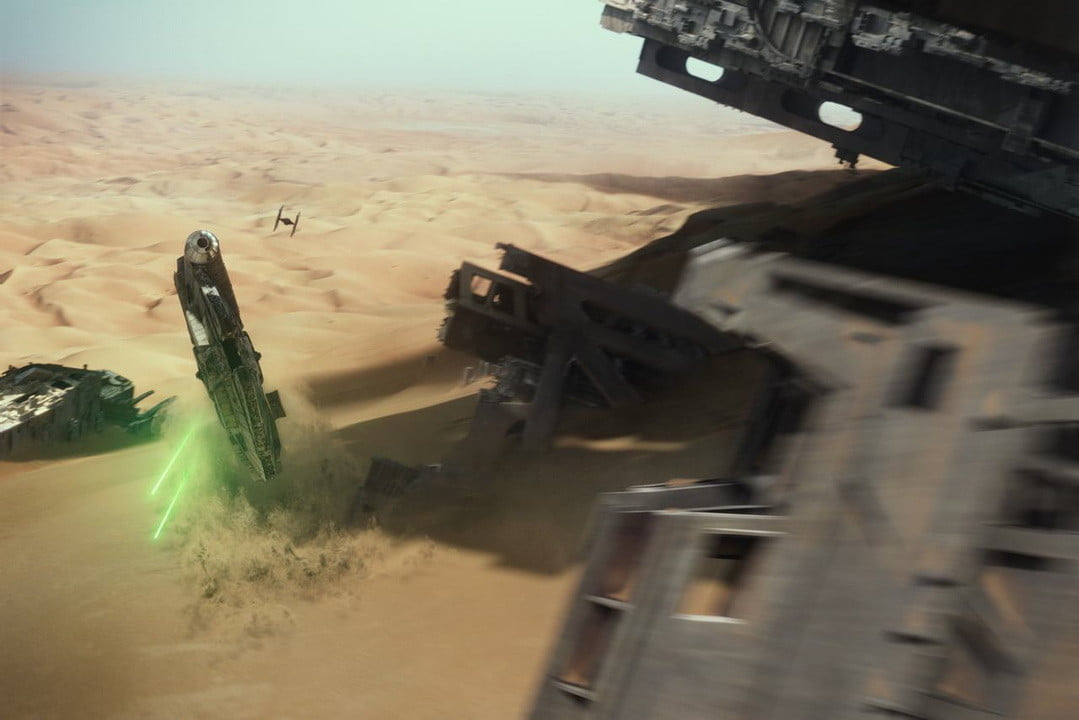 star wars the force awakens vfx oscars  industrial light magic millennium falcon chase and desert build