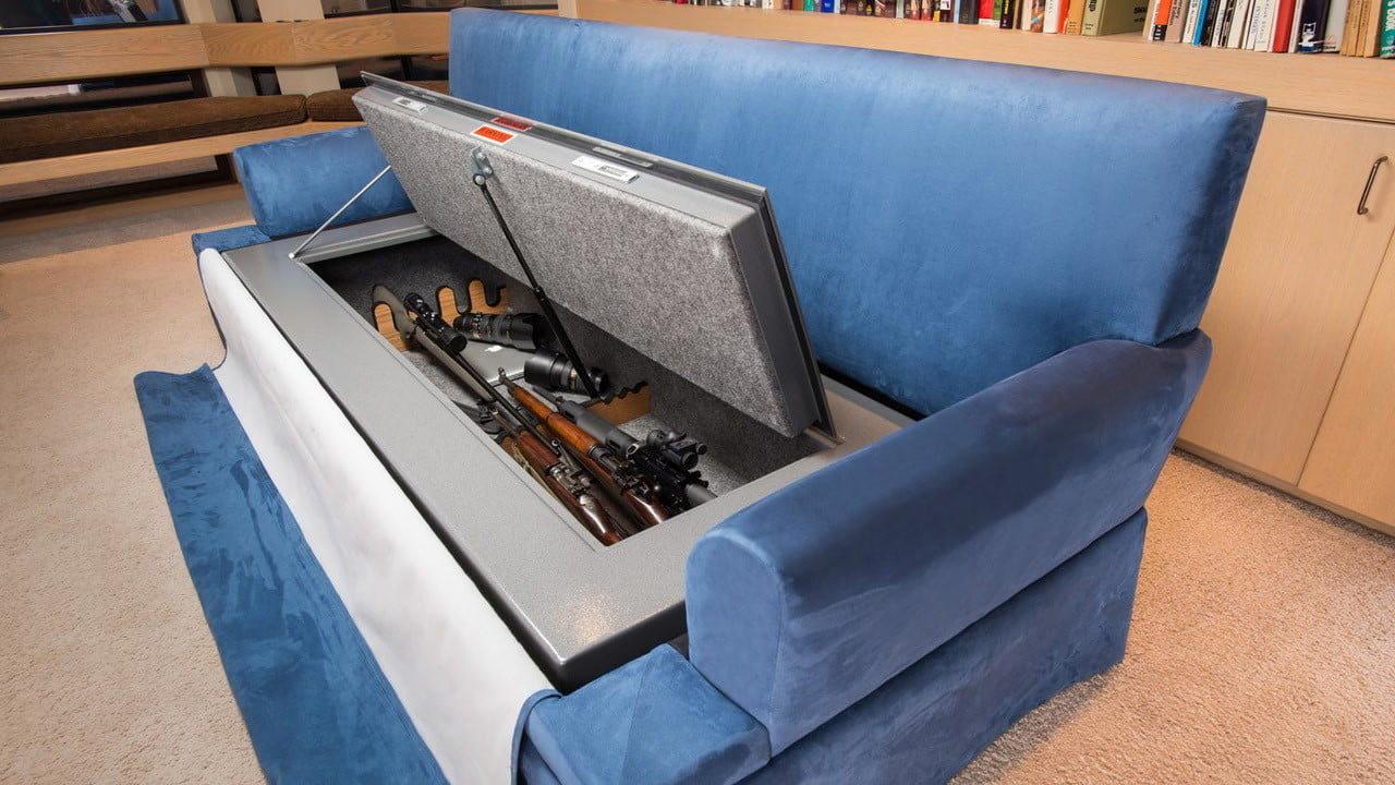 couchbunker bullet resistant sofa gun safe  heracles research corporation