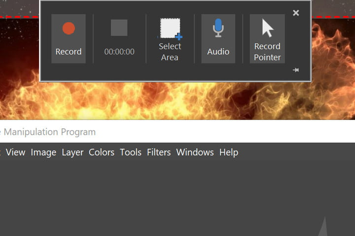 PowerPoint Record Screen overlay.