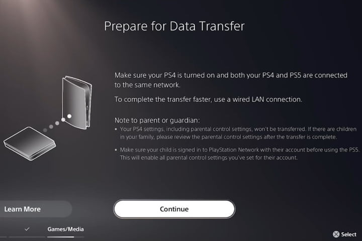 The Prepare Data Transfer screen on a PlayStation 5.